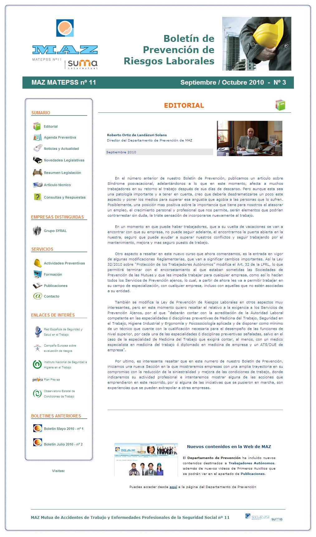 Boletín PRL - Nº 03 - Septiembre 2010
