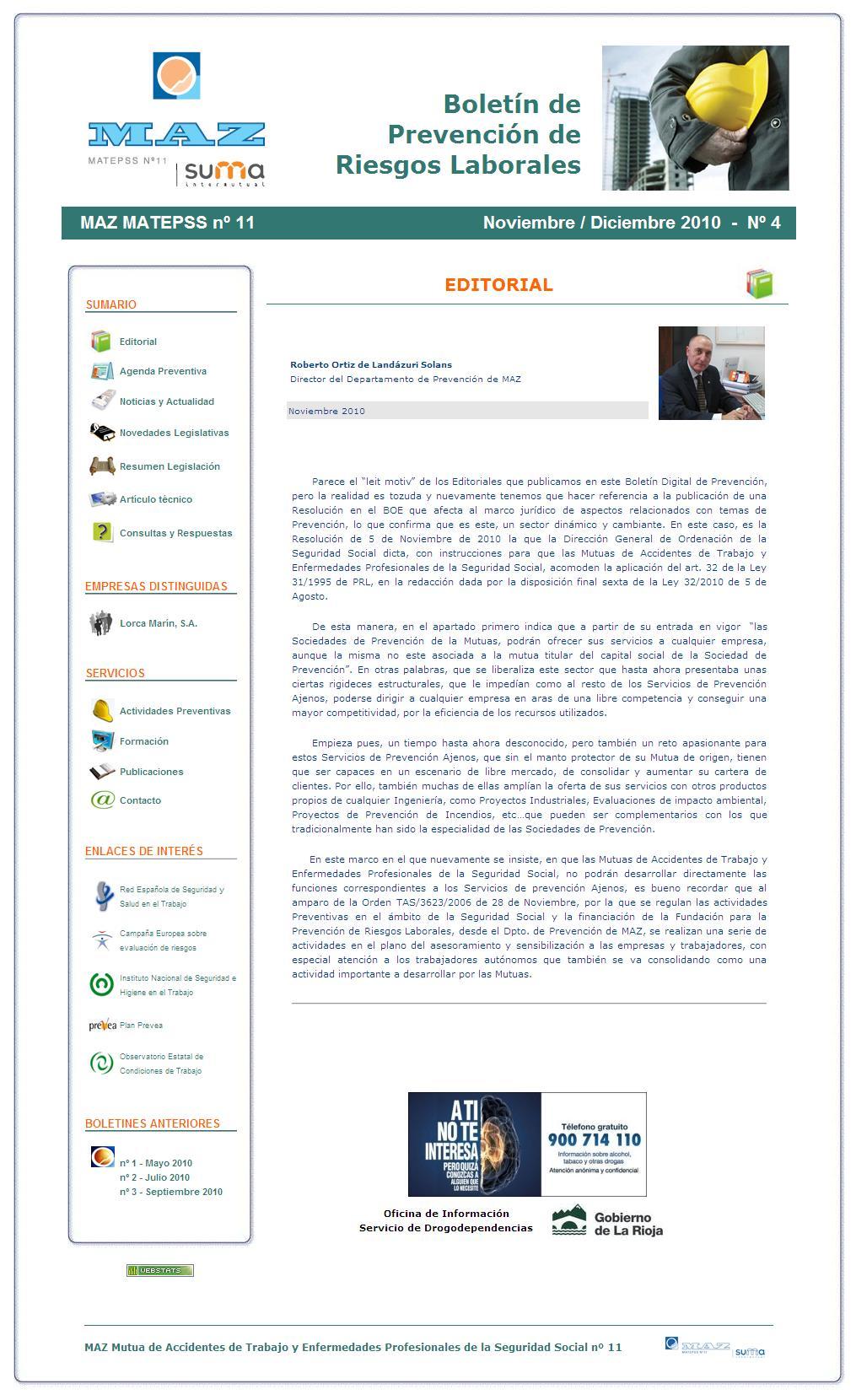 Boletín PRL - Nº 04 - Noviembre 2010