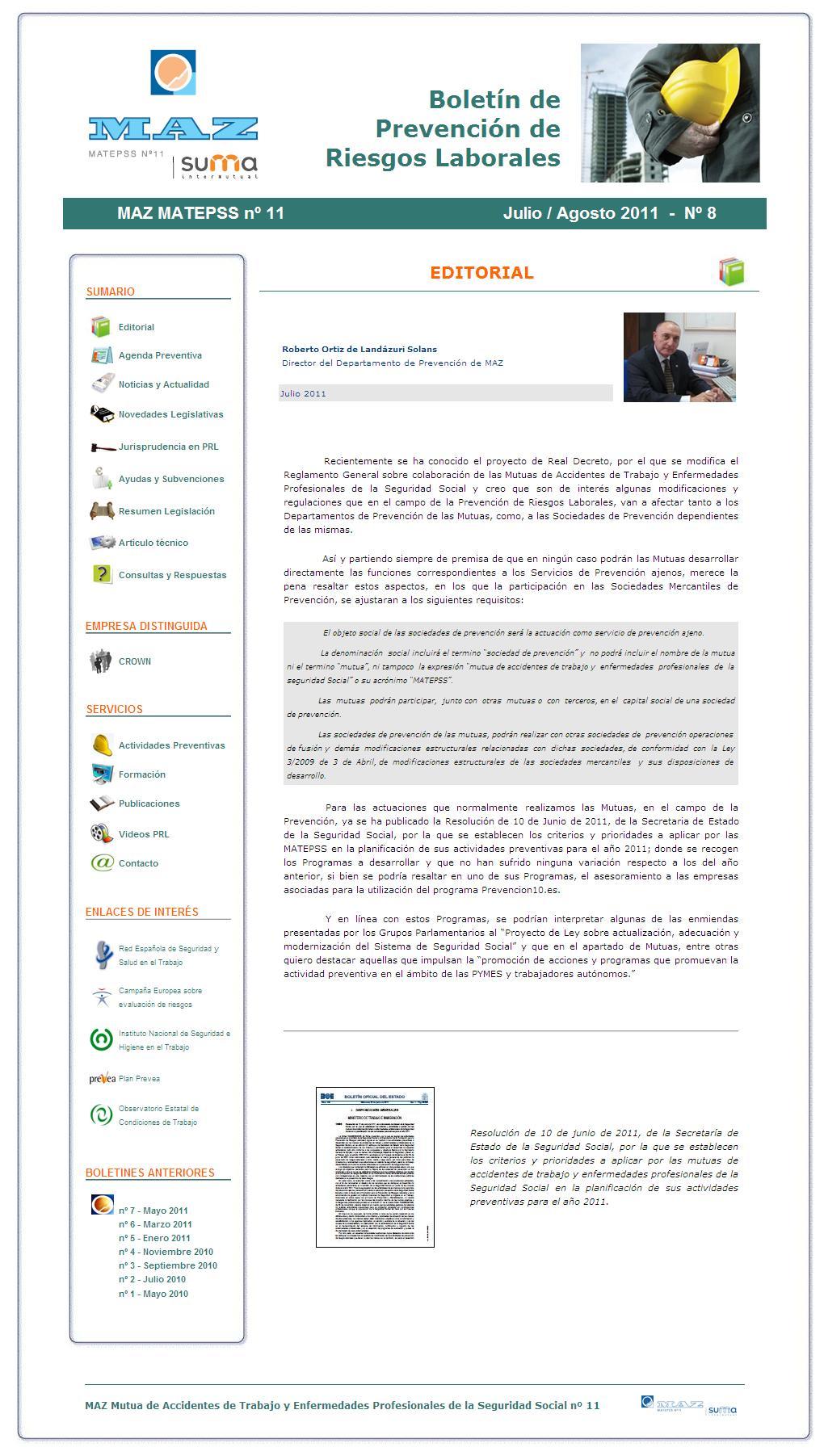 Boletín PRL - Nº 08 - Julio 2011