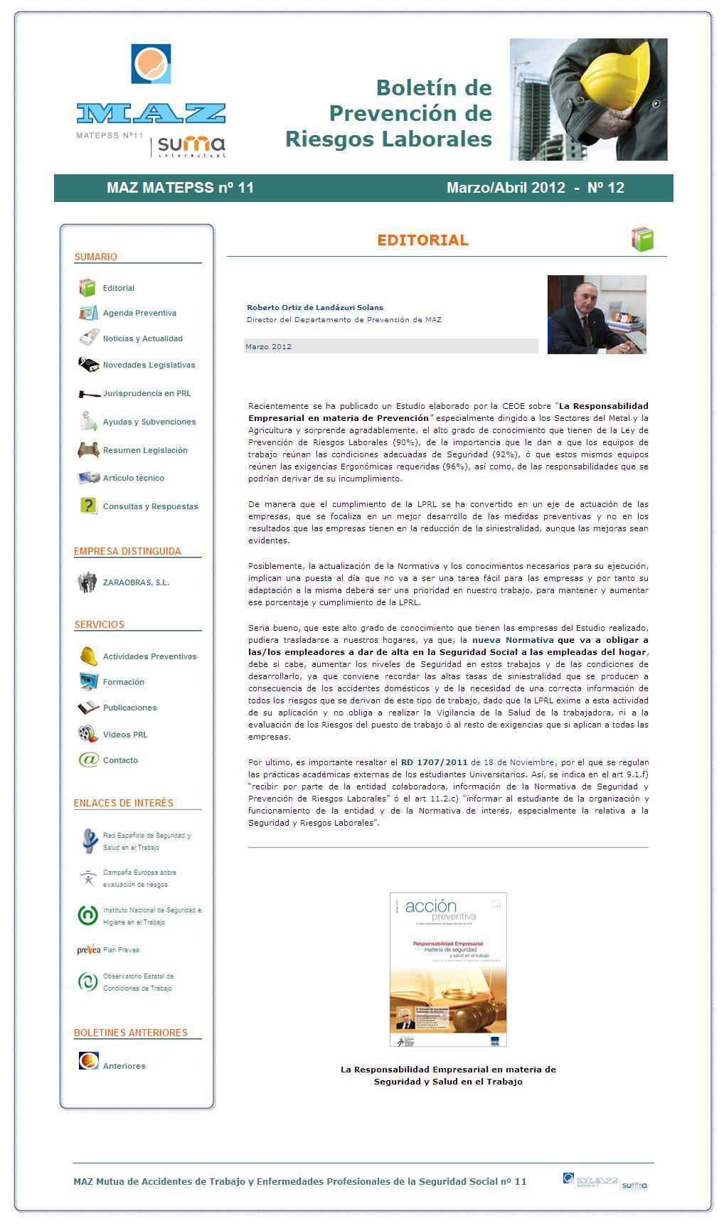 Boletín PRL - Nº 12 - Marzo 2012