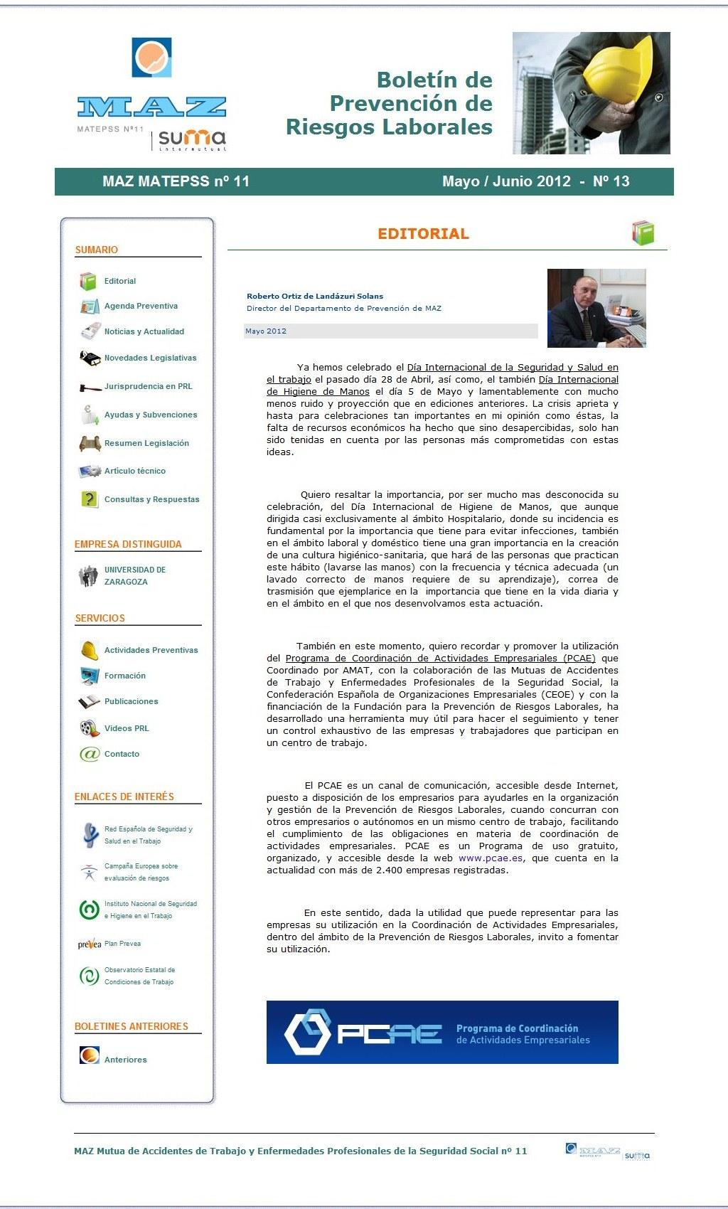 Boletín PRL - Nº 13 - Mayo 2012