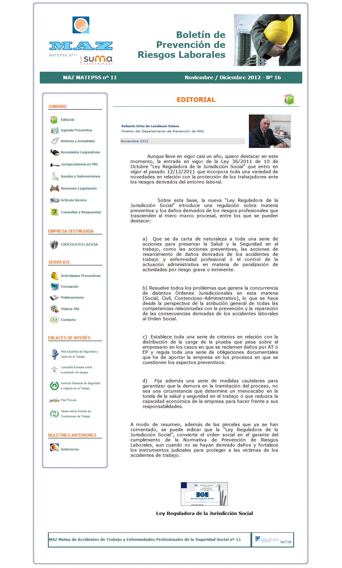 Boletín PRL - Nº 16 - Noviembre 2012