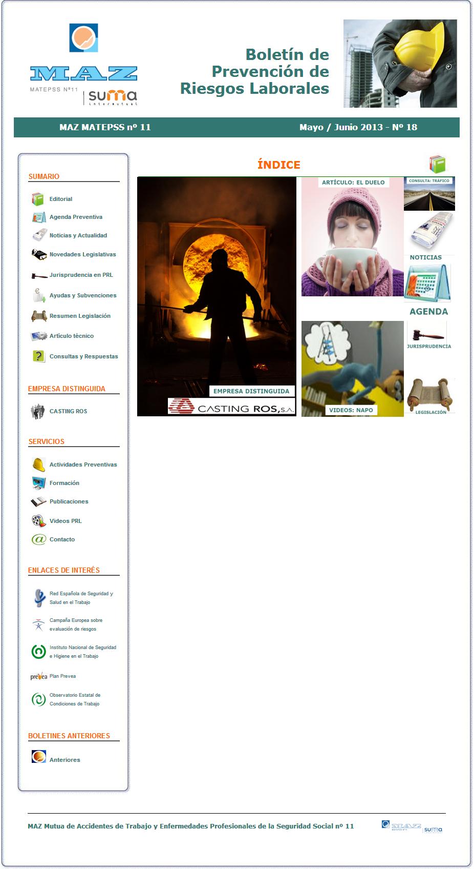 Boletín PRL - Nº 18 - Mayo 2013